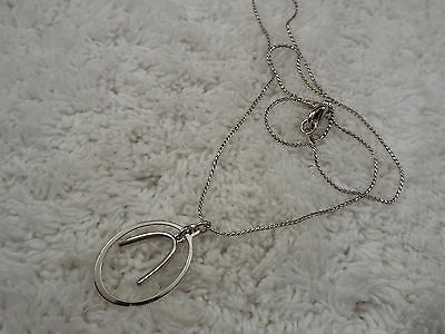 Silvertone Abstract Wishbone Necklace (A60)
