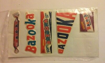 Lot of 5 1980's Bazooka Bubble Gum Puffy Stickers,Scrapbook/Stickerbook,CandyAds