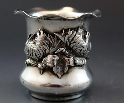 Rare George Shiebler Chrysanthemum Sterling Silver Toothpick Holder C1886 No Res