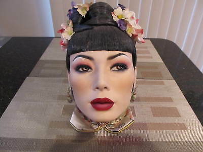 Genuine Dash N Dazzle Life Like Mannequin Head Hand Painted Oriental Woman
