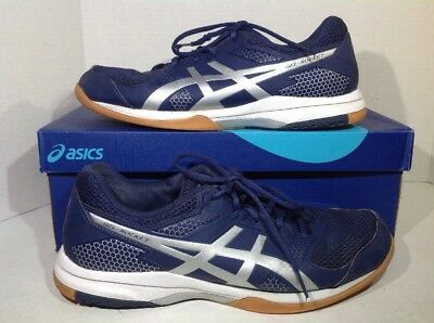 Asics Mens Size 10.5 Gel Rocket Blue Silver Athletic Volleyball Shoes ZQ-317