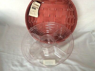 Longaberger Large CATCH ALL Basket & Divided Protector BRICK RED New In Hand