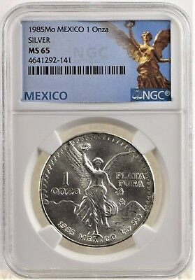 1985 NGC MS 65 Silver Mexican Libertad (b158t)