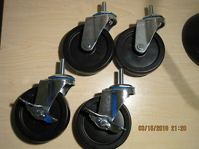 "set of 4 swivel casters, 4"" wheels, 3/8-16UNC stem, plated, 200lbs load capacity"