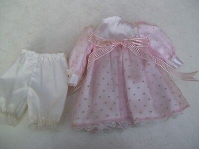 Alte Puppenkleidung Pink White Lacy Dress Outfit vintage Doll clothes 30 cm Girl