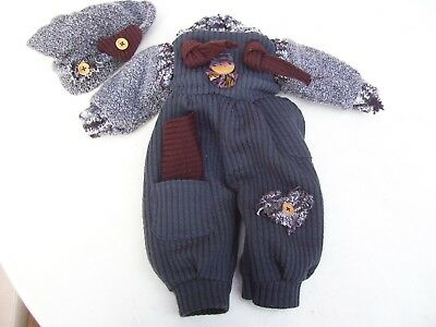 Alte Puppenkleidung Soft Jumper Suit Hat Outfit vintage Doll clothes 40 cm Boy