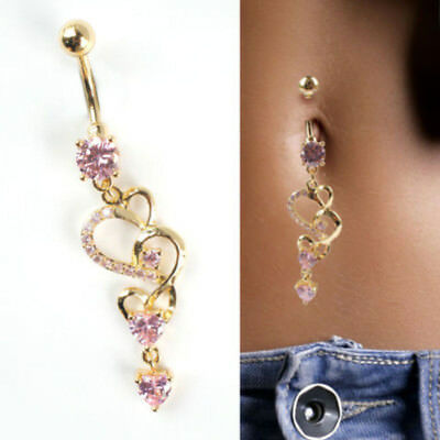 1pc Rhinestone Body Piercing Dangle Crystal Navel Belly Button Bar