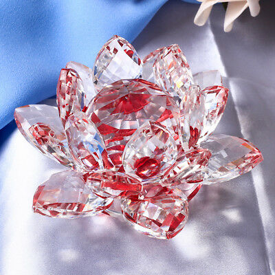 Large Crystal Lotus Flower Ornament with Gift Box, Feng Shui Decor Red