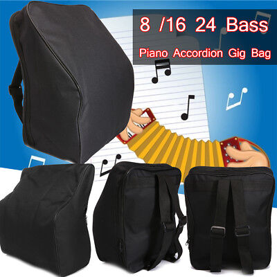 420D Thick Padded Accordion Gig Bag Carry Case for 8/16/24 Bass Piano Backpack