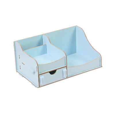Wooden Desktop DIY Cosmetic Case Makeup Storage Holder Blue 16.5x15.5x12cm