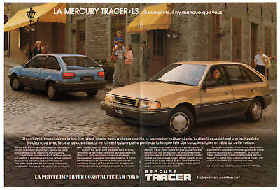 1987 MERCURY Tracer Vintage Original Print AD centerfold double sided FR Canada