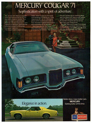 1971 MERCURY Cougar Vintage Original Print AD - Blue car photo Canada English
