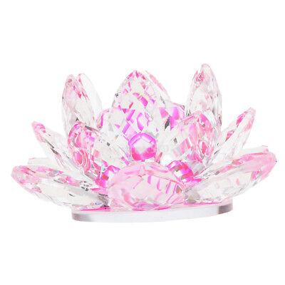 Crystal Lotus Flower Buddhist Ornament Feng Shui Art Glass Paperweight Pink