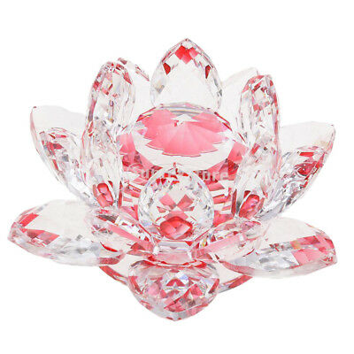 Crystal Lotus Flowers Crafts Paperweights Buddhist Feng Shui Ornaments Red