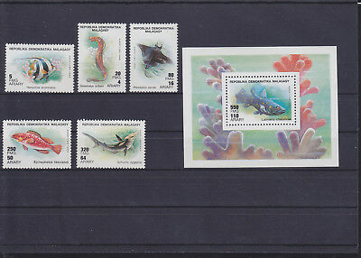 060213 Fische Fish ... Malagasy 1228-32 + Block 124 ** MNH Year 1990