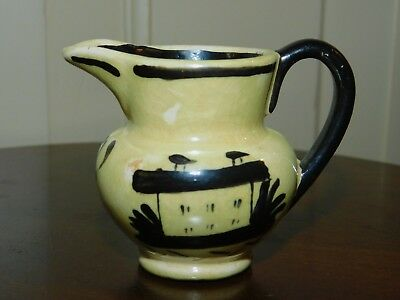 ANTIQUE FRENCH YELLOW LUSTER CERAMIC CHILD'S CREAMER with BLACK PAINTED HOUSE