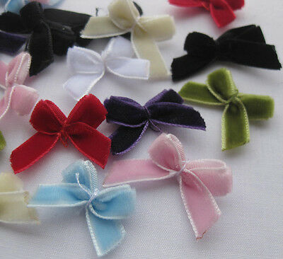 60pcs Velvet Ribbon Bows Flower Appliques Sewing Craft Lots U pick A2031