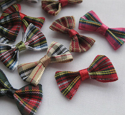 60pcs tartan plaid Gingham Ribbon Bows Flower Appliques Lots Upick A2030
