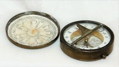 Antique English Brass Pocket Compass Sundial