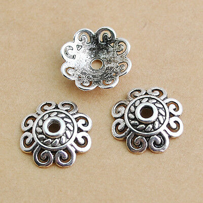 30/70pcs Tibetan Silver Alloy Charm Spacer Flower Beads Findings 13mm DZ132