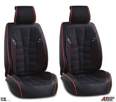 Black PU Leather & Fabric Front Seat Covers Padded For Land Range Rover Evoque