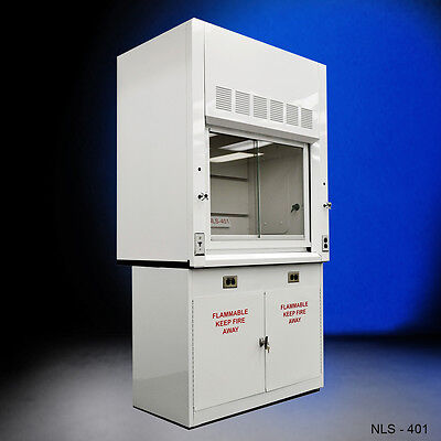 NEW 4' Chemical  Fume Hood WITH Flammable Base Cabinets -