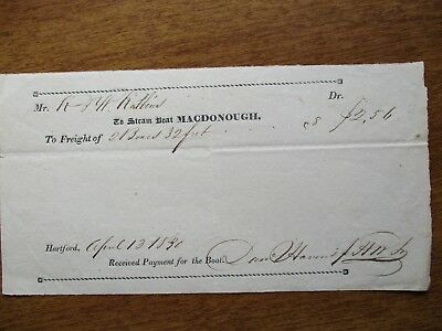 1830 The Steamboat MACDONOUGH,(188 year old),signed Hartford,Conn.,document!