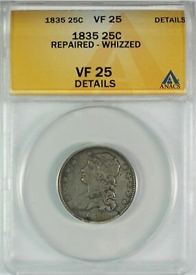 1835 25c Capped Bust Silver Quarter ANACS VF25 Details