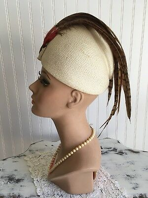 VINTAGE 1960's Cream HAT By JACK McCONNELL PHEASANT Feathers 20 1/2