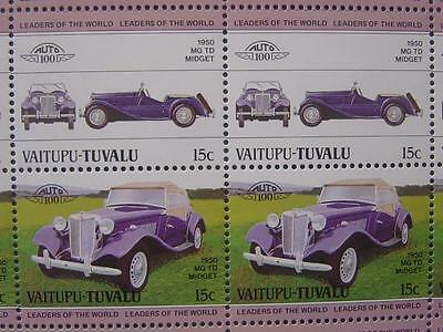 1950 MG TD MIDGET Car 50-Stamp Sheet / Auto 100 Leaders of the World