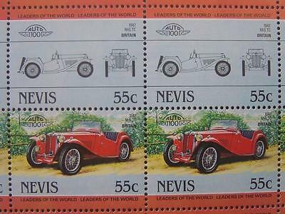 1947 M.G. MG TC T-Type Car 50-Stamp Sheet / Auto 100 Leaders of the World