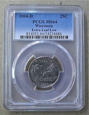 "2004-D Wisconsin ""extra Leaf Low"" State Quarter Pcgs Ms64"