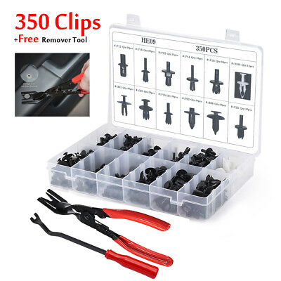 350 Clips+Tools Car Body Retainer Push Rivet Trim Moulding Fastener Screwdriver