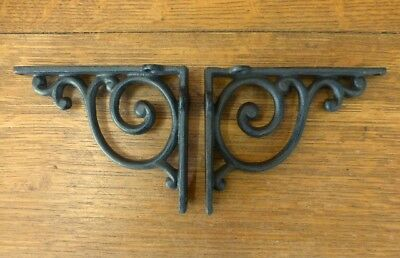 "2 BROWN ANTIQUE-STYLE 5.5"" SHELF BRACKETS RUSTIC CAST IRON WAVE DESIGN wall"