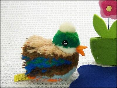 STEIFF alter bunter ERPEL TIER ENTE MINIATUR 7212/08 * old DUCK DRAKE POMPOM