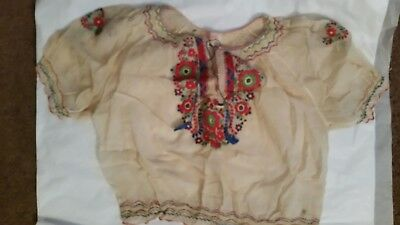 Vintage Hand Embroidered in Hungary Irish Linen Delicate Blouse Small/med