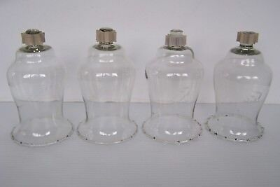 4 Vintage Home Interiors Clear Etched Wheat Glass Peg Candle Votive Cups