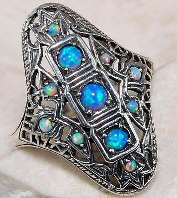 2CT Blue Fire Opal 925 Solid Sterling Silver Filigree Ring Jewelry Sz 9