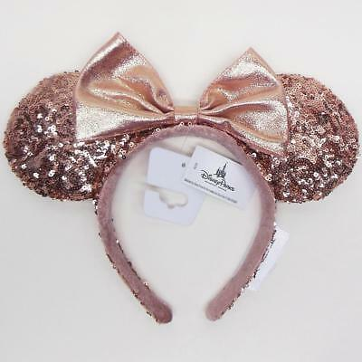 Authentic Disney Parks Minnie Mouse Rose Gold Sequin Ear Adult Headband NEW/TAGS