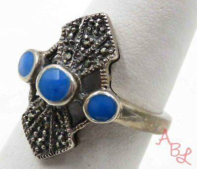 Sterling Silver Vintage 925 Cocktail Turquoise & Marcasite Ring Sz 7 5.2g 715803