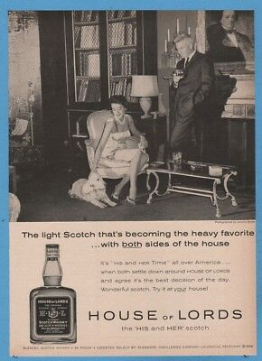1960 House of Lords  His and Her Scotch Whisky vintage Jerome Zerbe photo Ad