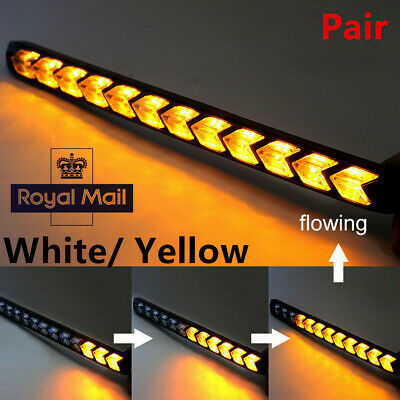 2xCar Flexible White/Amber Switchback Flowing 162LED Strip Light DRL Turn Signal