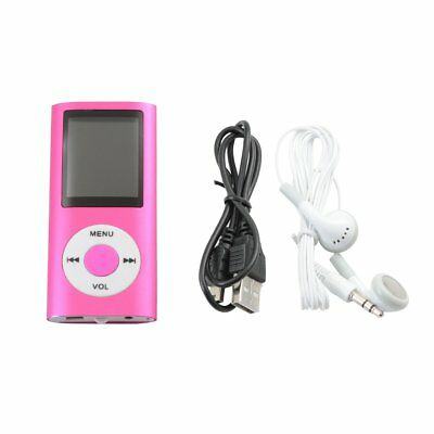Mini Micro SD Lettore MP3 Player Radio FM + Cuffia + Cavo USB (Rosa)
