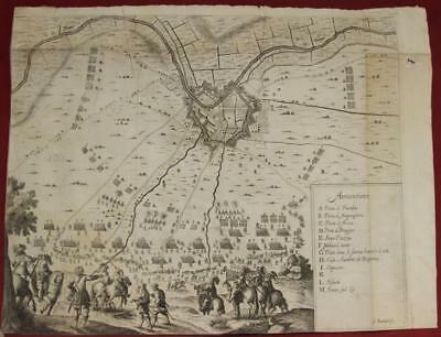 Armentieres France 1690 Gaspar Bouttats Unusual Antique Copper Engraved City Map