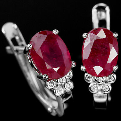 Elegant Genuine Pink Red Ruby 8X6Mm. Oval & White Cz Sterling 925 Silver Earring