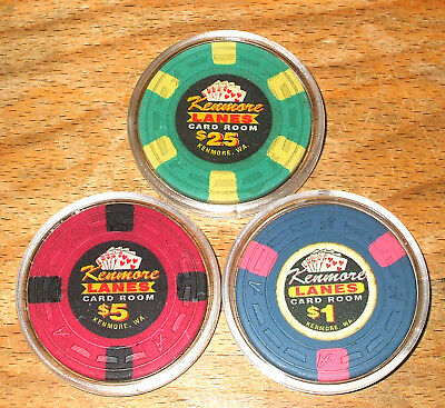 $1.-$5.-$25. Kenmore Lanes CASINO CHIPS - Card Room - Kenmore,Washington -Sample