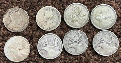 Lot of 52 CANADIAN SILVER QUARTERS * pre-1940-1966 * 25 cent pieces