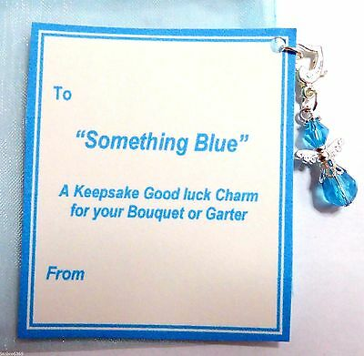 Something Blue Bridal Charm Guardian Angel for Bouquet or Garter on Gift Card