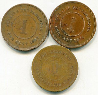 Straits Settlements large cents lot of   (3) 19th century coins lotmar2848