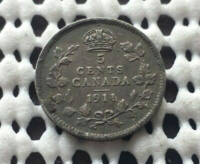 1911 ❀ Nice Detail ❀ Canada Silver 5 Cent King George V Coin